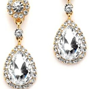 NWT MARIELL CZ Gold Wedding Prom Cocktail Earrings